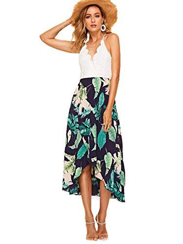 Jungle Womens Dress - SheIn Women's V Neck Halter Bow Knot Contrast Lace Wrap Hem Boho Long Dress Green