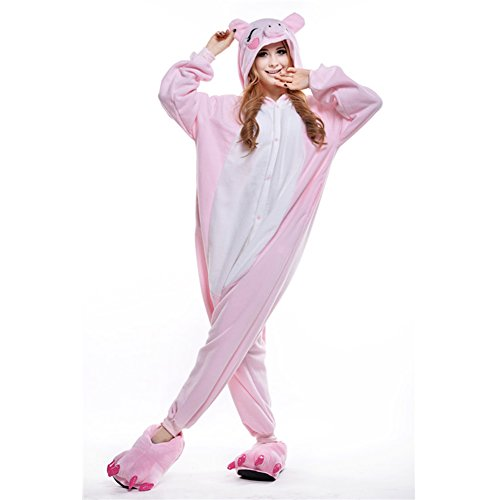 Amurleopard Coverall Pajamas Hoodie Animal Costumes Cosplay Pink Pig S ()