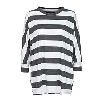5fb1fddb95d URIBAKE Fashion Plus Size Women's Long Sleeve Striped Print Blouse ...