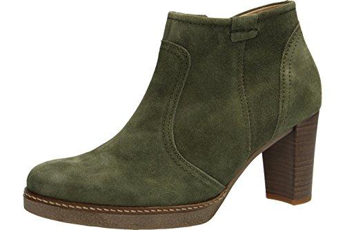 Gabor 55756-11 - Zapatos mujer moderno Botines, Verde, cuero (kalbvelour), altura de tacón: 60 mm Green