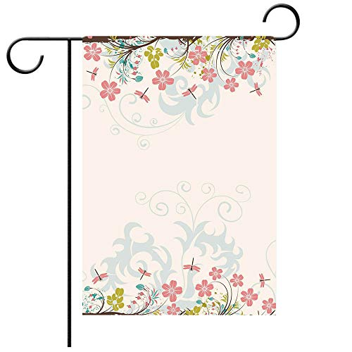 Garden Flag Double Sided Decorative Flags Dragonfly Vivid Spring Branches Bunch of Blooms Tree Curling Leaf Artwork Decorative Light Pink Brown Lime Green Best for Party Yard and Home Outdoor Decor