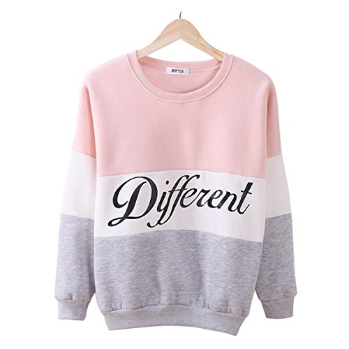 Laisiyi Autumn Fleece Letter Different Print Casual Sweater Mix Color Pullover Pinkgray M