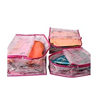 Kuber Industries 3 Piece PVC Saree Cover Blouse Cover Peticot Cover