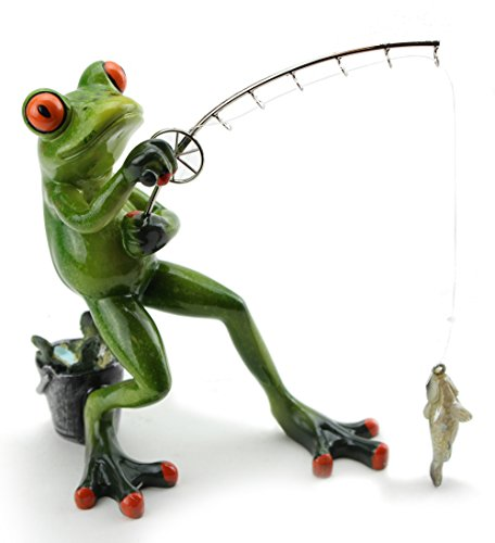 Novelty Funny Frog Figurine ~ Catching a Fish (G16619) ~ We Pay Your Sales Tax ()