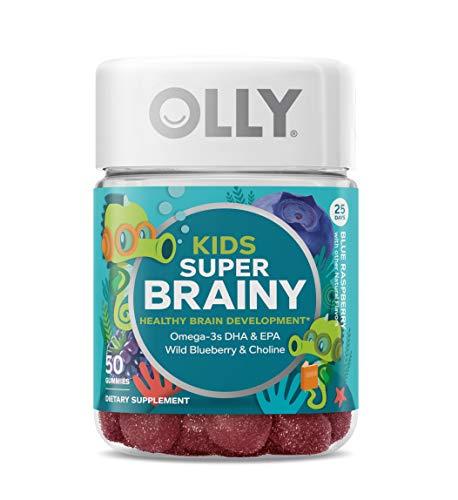 OLLY Kids Super Brainy Gummy Multivitamin, 25 Day Supply (50 Gummies), Blue Raspberry, Omega 3 DHA EPA, Wild Blueberries, Choline, Chewable Supplement