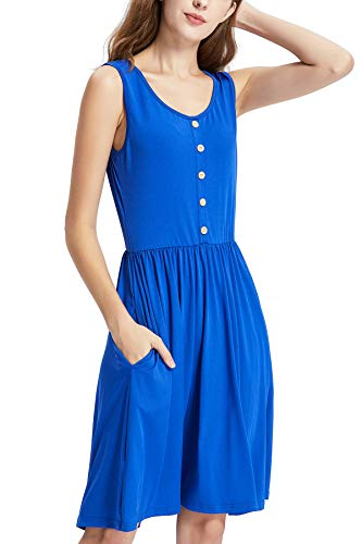 MCTY Women's Summer Button Casual Loose Swing Sleeveless Plain Weave Pleated T-Shirt Dresses with Pockets Knee Length Blue ()