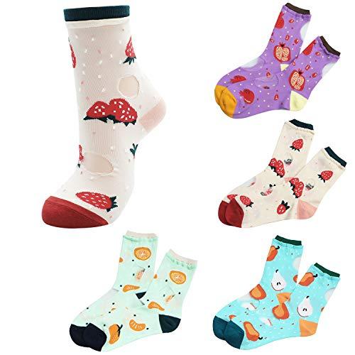 Sheer Mesh Transparent Socks Women - Lace Ultrathin Fishnet See Through Ankle Sock Fruit B