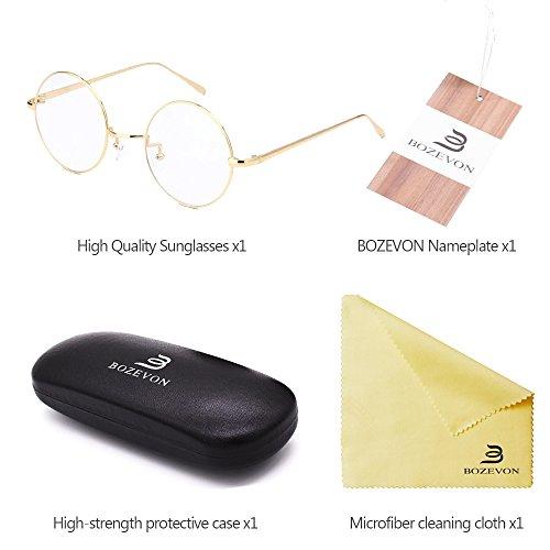 Soleil Métal Lunettes Cru Hommes Bozevon Lens Femmes Fashion Goggles De Pour Transparent Classique Et Or Rond 5W6648