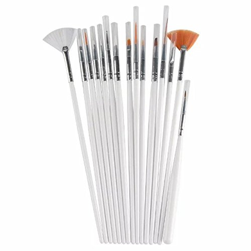 Brendacosmetic Set of 15 Pcs Profession Nail Art Brush White Nail Brush, Nail Design Pen Kit of Drawing ,Painting ,Carving Pencil for Manicure.
