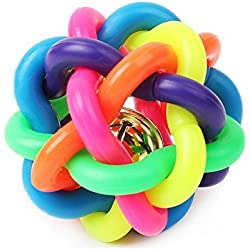 Qiyun Puppy Dog Toy Colorful Bouncy Rubber Balls with Bell for Pet Training Playing Chewing