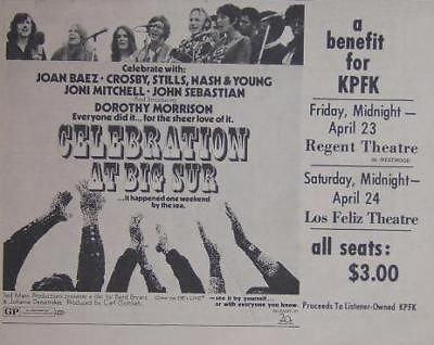 Celebration at Big Sur Film 1971 Movie Poster Newspaper Ad from ConcertPosterArt