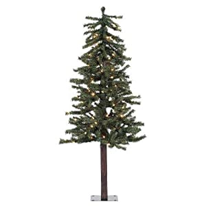 Vickerman 100-Piece Natural Alpine Tree with 337 Tips Set, 4-Feet by 25.5-Inch, Clear 91