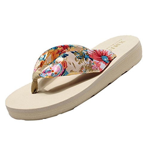 Bohême Femmes Satiné YOUJIA Chaussures Or Plage Tongs de Plateforme Beige été Sandales xYdFwq0dr
