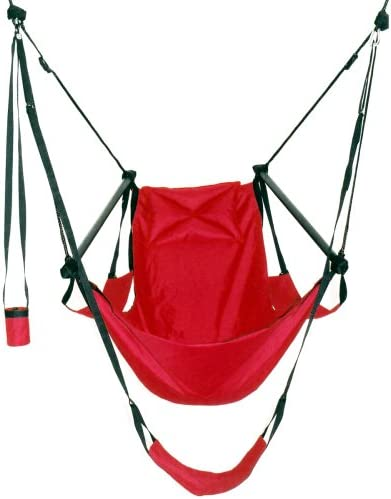 Green Eggs and Hammocks Con2our Dual-Point Hammock Chair with Adjustable Footrest, Armrests, Pillow, and Drink Holder, Royal Blue