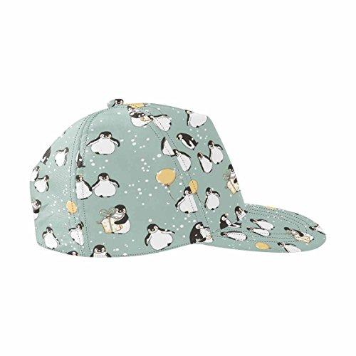 InterestPrint Cute Penguin Unisex Snapback Hats, Adjustable Printed Hip Hop Baseball Cap