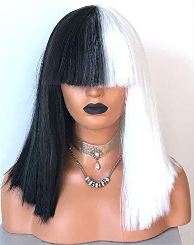Wigbuy Short Silk Yaki Curly Black and White Bob Wig Pastel wig Long Bob wig 18
