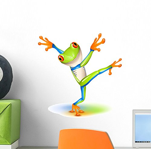 Dancing Tree Frog Wall Decal by Wallmonkeys Peel and Stick Graphic (12 in H x 12 in W) (Friendly Frog Mirror)