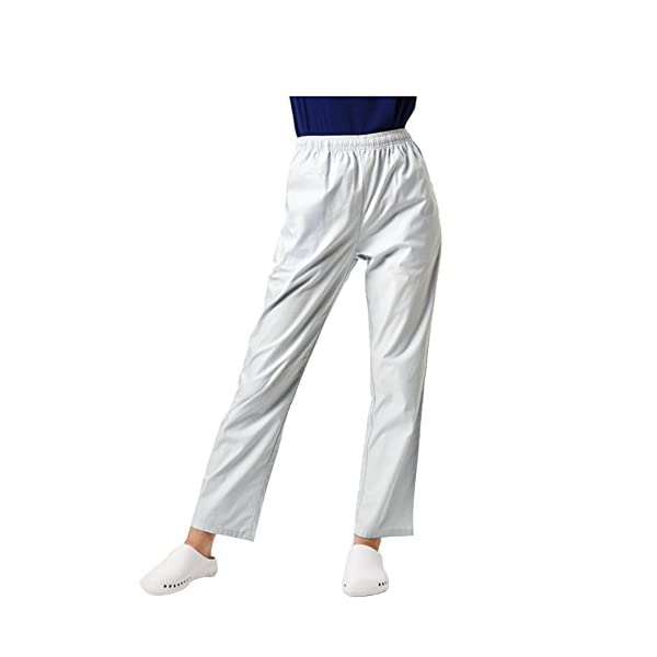 WWOO Uomo Pantalone da Lavoro Bianco Puro Cotone Pantaloni Medical Pantaloni da Infermiere Opaco pantalaccio con Elastico