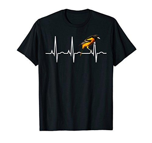 Baltimore Orioles Heart - Oriole Shirt for Birders - Baltimore Oriole Heartbeat Tee