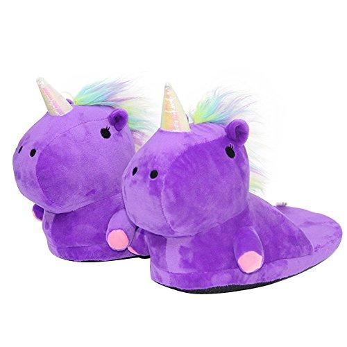 Lila01 Unisex Peluche Ciabatte Regalo Kirin Scarpe Pantofole Halloween Invernali Animali 44 Cosplay Unicorno 35 OYqTq