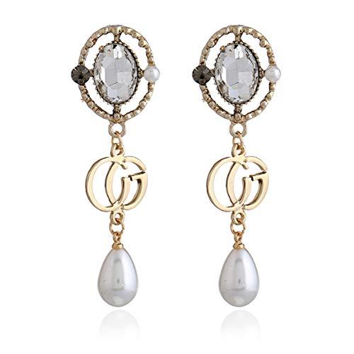 HSUMING Long Pearl Dangle Earrings for Women, Fashion Crystal Gold Plated CG Water Droplets Pearl Dangle Earrings]()