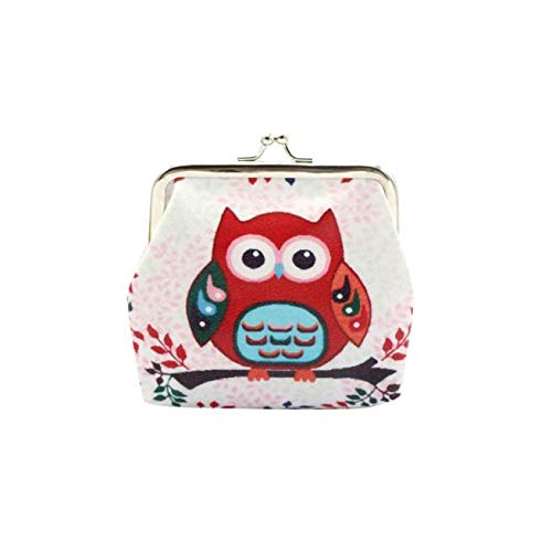 Clearance ! Bokeley Cute Lovely Style Owl Buckle Coin Purses Vintage Pouch Kiss-Lock Change Purse Wallets (Owl-RD)