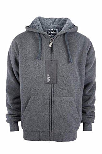Men's Full Zip Heavyweight Sherpa-Lined Fleece Hoodie Jackets Dark Grey XXL