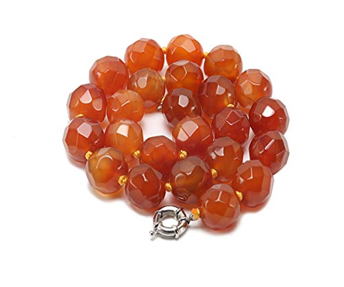 JYXJEWELRY Women Red Agate Necklace 18mm Big Faceted Round Agate Beads Single Strand Jewelry 20