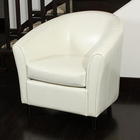 Preston Modern Bonded Leather Ivory Tub Club Arm Chair