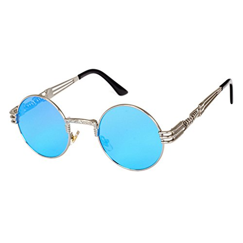 Mercurio Gafas Juleya Retro Azul Metal Plata Ronda UV400 Steampunk zwgzqTO