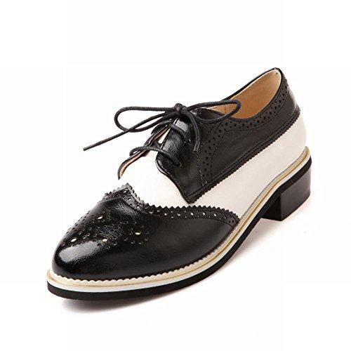 Bedel Voet Dames Vintage Lage Hak Veter Schoenen Brogue Oxfords Zwart