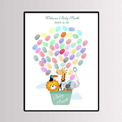 Air Balloon Baby Shower (Fingerprint Painting Cartoon Woodland Animal Hot Air Balloon,Baby Shower,Baby Baptism or Birthday Party Guest Book Signing Canvas)