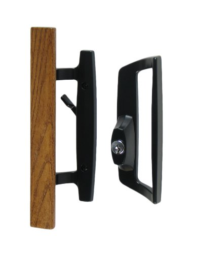 Bali Nai Sliding Glass Door Handle and Mortise Lock Set with Oak Wood Pull in Black Finish, Includes Key Cylinder, Standard 3-15/16