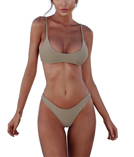 Yknktstc Womens Bathing Suit 2 Piece Brazilian Bikini Set High Cut Swimsuits Swimwear Medium Mint - Nude High Cut