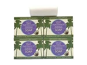 Niugini Organics Virgin Coconut Oil Soap - 4 Pack Lavender Soap bars. Multi Award Winner