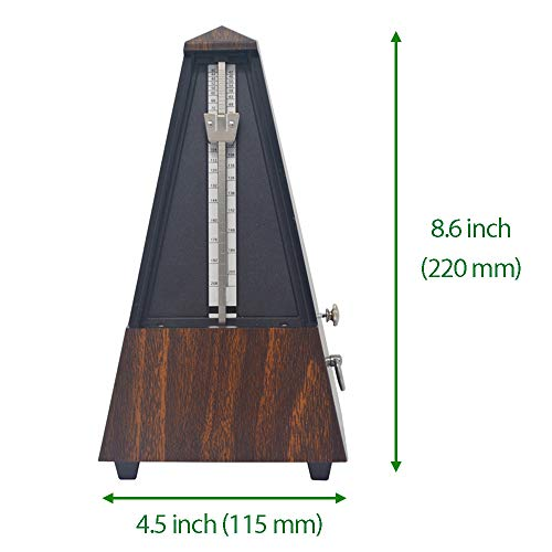 Luvay Mechanical Metronome - Wooden Plastic - Track Beat and Tempo for Piano, Guitar, Violin, Drum, Flute etc. (Brown)