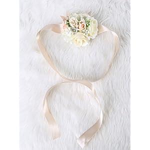 Pretty bridesmaid wrist Corsage Rose Flower Wedding Bridal (Beige) 77