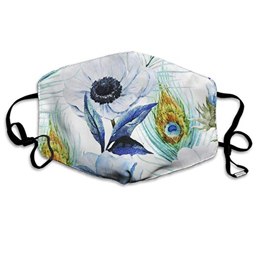 SOADV Mouth Masks Poppies Peacocks Anti Dust Face Mouth Cover Mask Respirator Cotton Protective Breath Healthy Safety Warm Windproof -