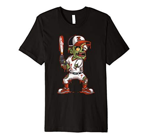 Zombie Baseball Batter Halloween Trick or Treating Gift Premium T-Shirt