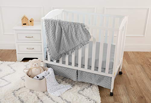 American Baby Company Heavenly Soft Minky Dot 3-Piece Mini/Portable Crib Bedding Set, Grey, for Boys and Girls