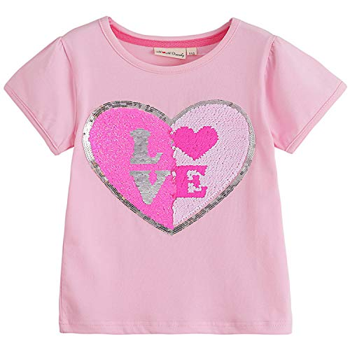 Glitter Flip Sequin Girl's T-Shirt Top Short/Long Sleeve, Fleece Jacket 3-12 Years (5, Love Pink - Fleece Top Pink