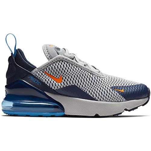 (Nike Air Max 270 Kids Wolf Grey/Blue/Orange AO2372-015 (Size: 12.5C))