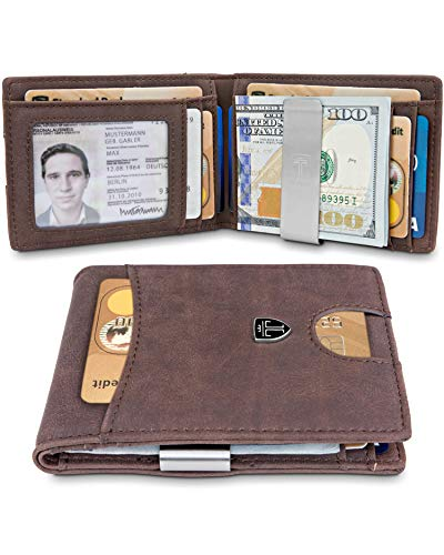 TRAVANDO Slim Wallet with Money Clip SEATTLE RFID Blocking Card Mini Bifold Men (Brown)