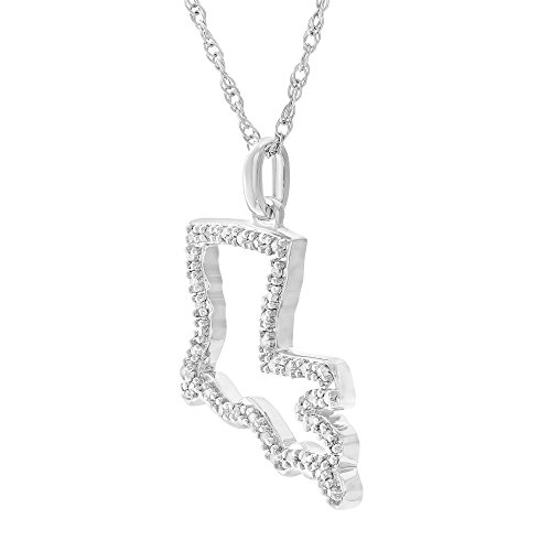 "Brilliant Designers 1/10 CTTW White Diamond (IJ/I3) & Sterling Silver ""Louisiana"" Pendant with 18"" Silver Chain ()"