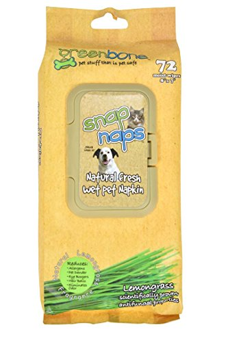 Greenbone Snap Naps 72 Count Natural Lemongrass Deodorizing Pet Wipes