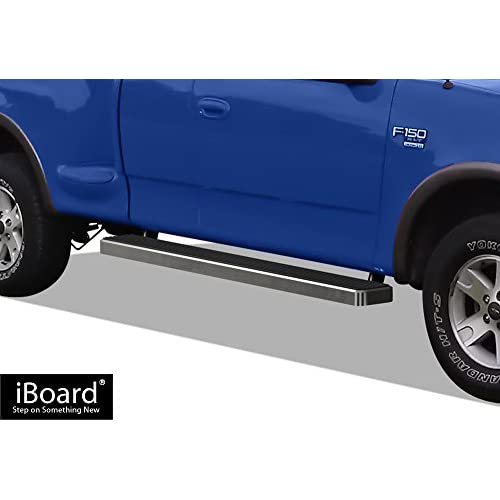 APS iBoard Running Boards (Nerf Bars | Side Steps | Step Bars) for 1999-2003 Ford F150 / F250 Super Cab (Incl. 04 Heritage) | (Silver 6 inches) for sale