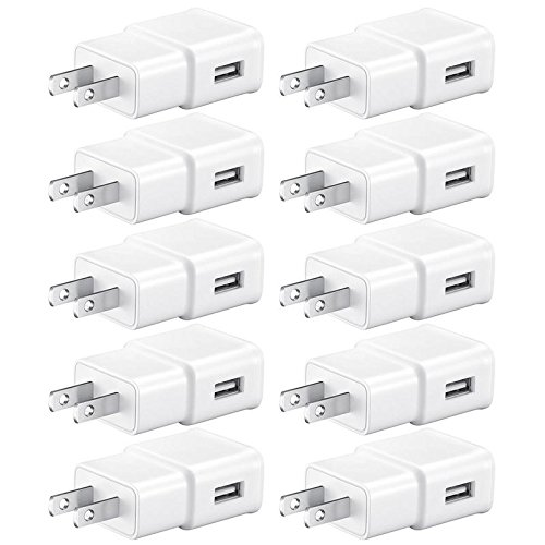 USB Wall Charger, Power Adapter Charger, FREEDOMTECH 10-Pack 2.1A/5V 1-Port USB Wall Plug Power Adapter Charging Cube for iPhone X 8/7/6 Plus SE/5S/4S,iPad, iPod, Samsung, Android Phone -White