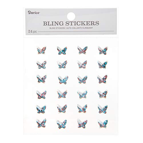 Darice 30053606 Glitter Butterfly 24 Piece Bling Stickers, Iridescent Blue/Pink