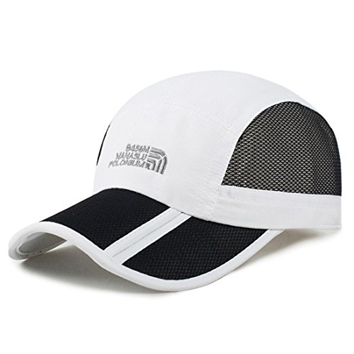 WINMIS Summer Baseball Cap Quick Dry Mesh Back Cooling Portable Sun Hats for Sports Golf Running Fishing Outdoor Research Lightweight Breathable (White)
