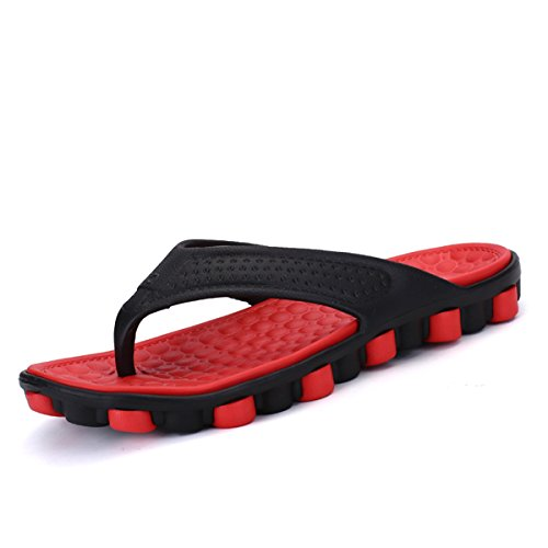 Flip Flops, Tezoo Herren Damen Pantoffeln Pantoletten Zehentrenner Unisex Hausschuhe Sommer Schuhe aus Gummi Ultra Weich Anti-Rutsch (Hersteller-Größentabelle im Bild Beachten) Grau Grün Rot Orange